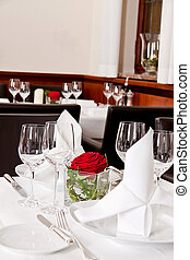 tables in restaurant decoration tableware empty dishware -...