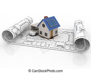 Architecture model house with garage