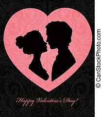 Valentines day card with silhouettes of loving couple