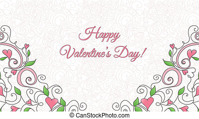 Valentine's Day card with hearts ornament