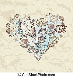 Heart of the shells Hand drawn illustration - Heart of...
