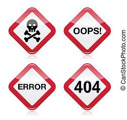 Danger, oops, error, 404 sign