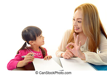 English teacher with girl studying