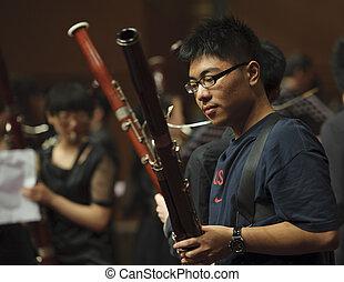 bassoonist, viento, Música, cámara, Música, concierto