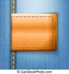 Brown leather label on blue jeans background