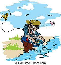 happy gold miner - vector illustration of a happy gold miner