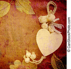 heart card, vintage background - heart card, antique...