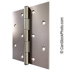 Metal Door Hinge Front - A regular open brushed metal door...