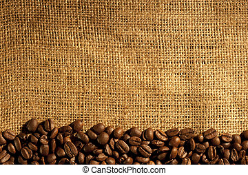 Frame of coffee beans on sacking