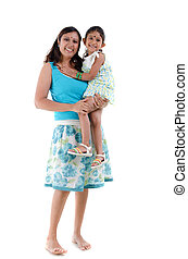 happy looking south asian indian mother and daugther