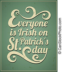 St Patricks Day Card - Cool typographic design for St...