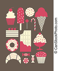 Dessert Icons Collection - A set of retro style dessert...