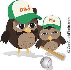 Father's day baseball owl - Cute illustration of father and...