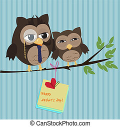 Fathers day owl - Cute illustration of happy father and kid...