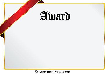 Award - Blank Award Document Isolated On White
