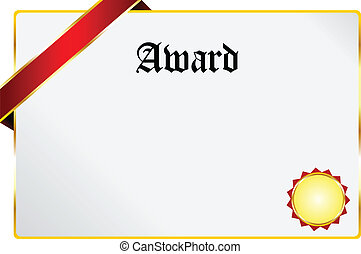 Award - Blank Award Document With Golden Ribbon Isolated On...