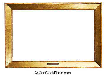 Simple Golden Picture Frame with Clipping Path - Old retro...
