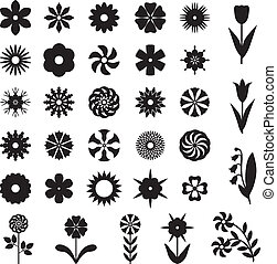 Set flower silhouette - Set of 33 silhouette images of...