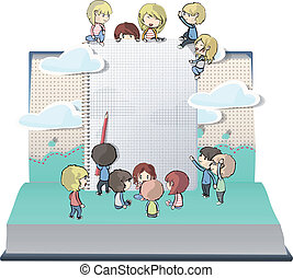 Notebook with several children printed on open book. Vector...