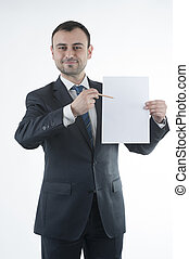 Businessman shows blank paper