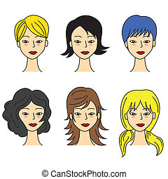 hair styling - Vector set of trendy hair styling icons