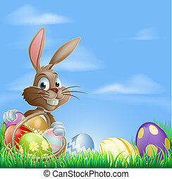 Easter background scene - Easter background with copyspace...