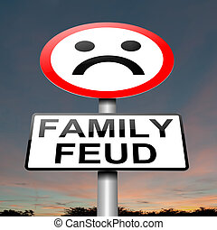 Family feud concept sign. - Illustration depicting a sign...