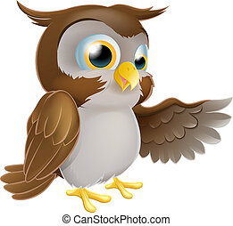 Pointing Owl Character - An illustration of a cute cartoon...