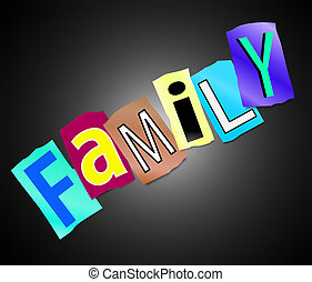 Family concept - Illustration depicting cutout printed...