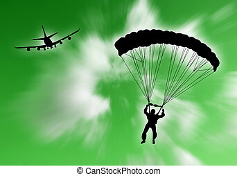 Sport extreme - Parachutist falling in the sky with plane on...