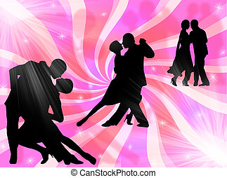 Tango dancing - Couples dancing a tango on a colorful...