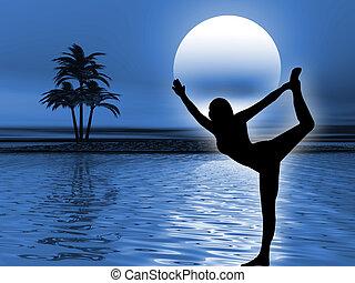 Yoga meditation - Yoga pose and meditation in the ocean...