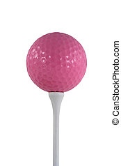 Isolated pink golf ball on a white tee