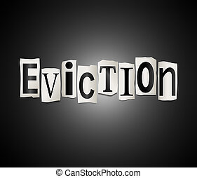 Eviction concept - Illustration depicting cutout printed...