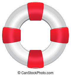 Life Preserver - Blue Life Preserver With Rescue Words