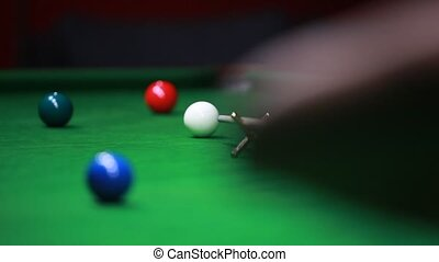 Snooker player hits red ball...