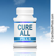 Cure all concept. - Illustration depicting a medication...