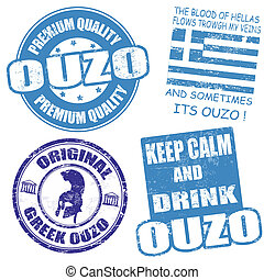 Set of ouzo stamps - Set of ouzo grunge rubber stamps on...