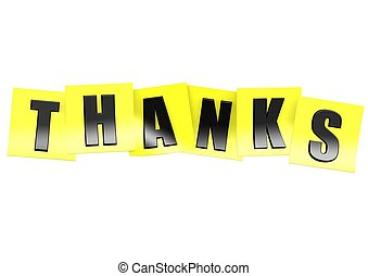 Thanks in yellow note - Rendered artwork with white...