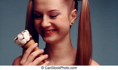 Beauty girl with icecream