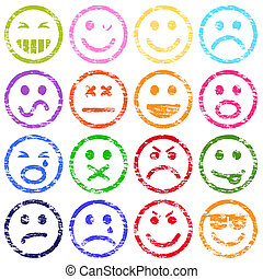 Smiley Face Stamps - Colorful smiley face rubber stamp...