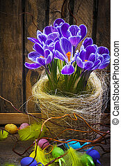 Art Easter Egg basket wooden card crocus spring flower feather