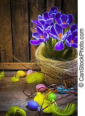 Art Easter Egg basket wooden card crocus spring flower feather