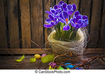 Art Easter Egg basket wooden card crocus spring flower...