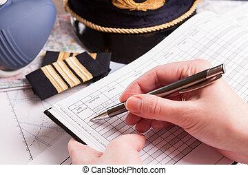 avión, piloto, relleno, vuelo, plan