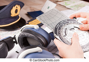 Airplane pilot equipment - Close up of an airplane pilot...
