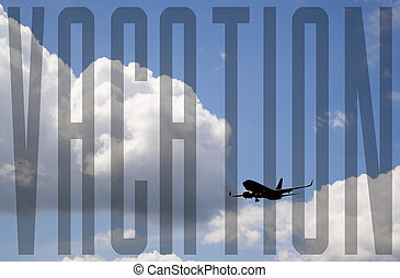 Vacation Flight - A silhouette of a commercial passenger...