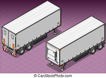 isometric tow frigo truck - Detailed illustration of a...