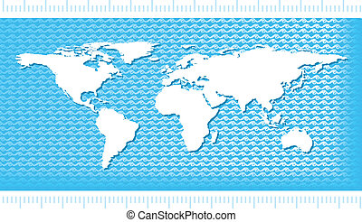 World Map with water waves