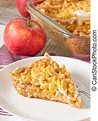 pie with apples and meringue layer